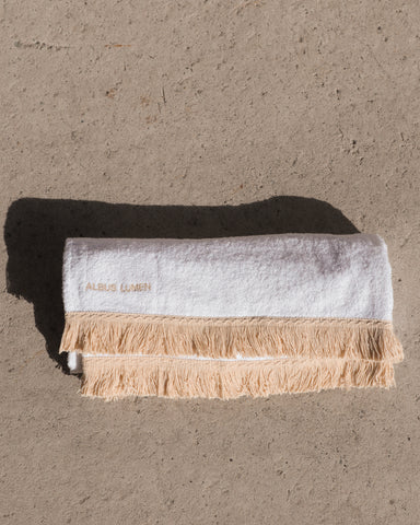 SAFI FRINGED BEACH TOWEL - WHITE/NATURAL