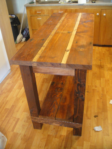 Kitchen Island / Utility Table - Unique Wood & Iron