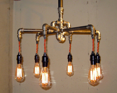 Industrial Pipe Chandelier #2 - Unique Wood & Iron