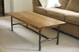 Coffee Table with pine plank top and pipe legs - Unique Wood & Iron