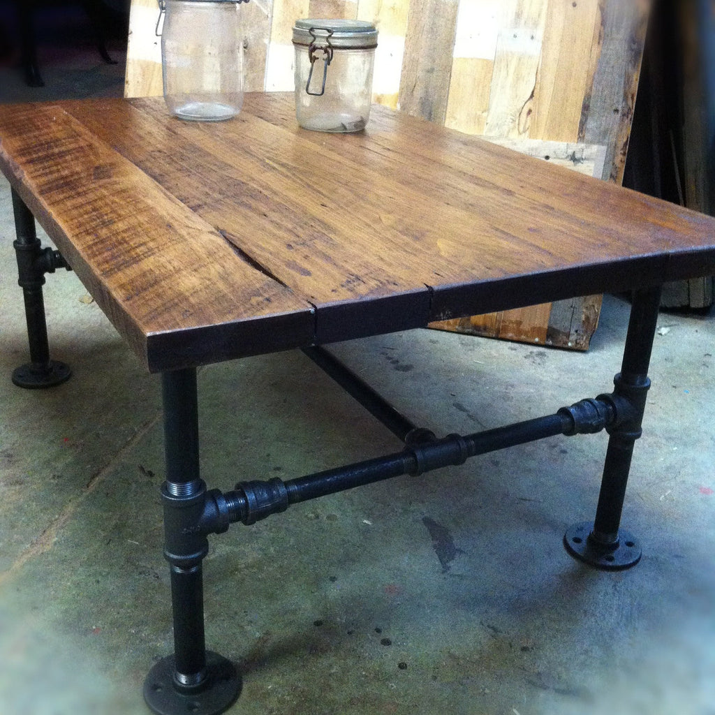 Pine Coffee Table With Turned Legs: Coffee Table With Pine Plank Top And Pipe Legs