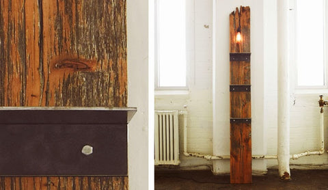 Rustic Industrial Free Standing Floor Shelving Plank - Unique Wood & Iron