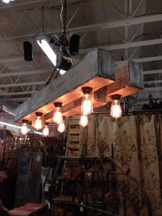 Reclaimed Double Wood Beam Rustic Chandelier - Unique Wood & Iron