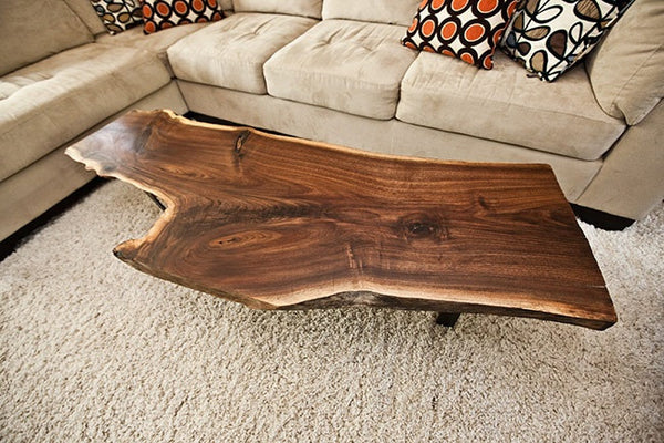 Live edge hardwood coffee table - Unique Wood & Iron