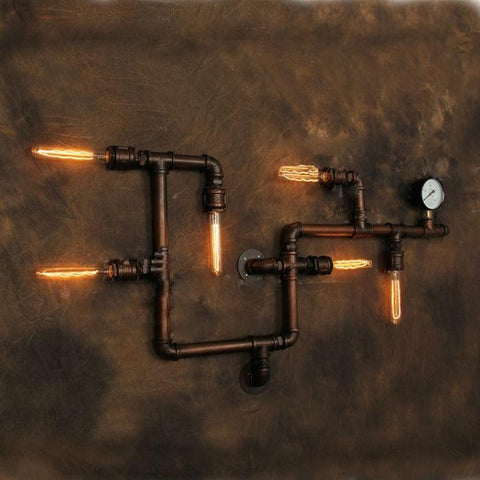 Industrial Pipe & Gauge Wall Lamp - Unique Wood & Iron