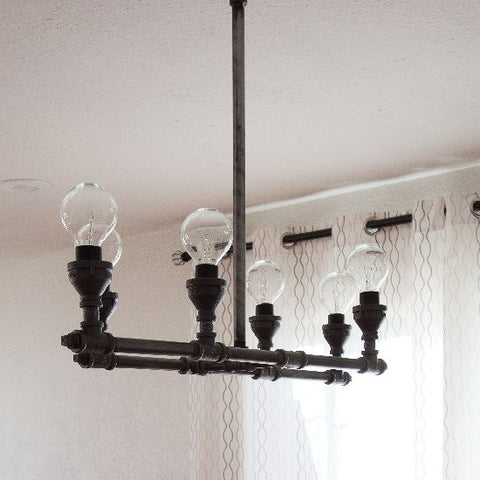 Industrial Pipe Chandelier 3 - Unique Wood & Iron