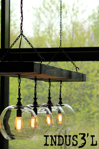 Reclaimed Wood Beam Chandelier with Globes - Unique Wood & Iron