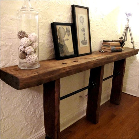 Reclaimed Wood Beam Console with Pipes - Unique Wood & Iron