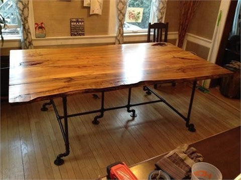 Live Edge Wood Slab Dining Room Table - Unique Wood & Iron