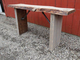 Live Edge Rustic Industrial Console Table with barn wood - Unique Wood & Iron