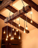 Reclaimed Wood Beam Chandelier with Iron brackets