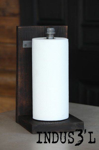 Wood and Pipe Paper Towel Holder - Unique Wood & Iron