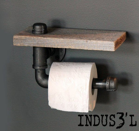Wood & Pipe Toilet Paper Holder - Unique Wood & Iron