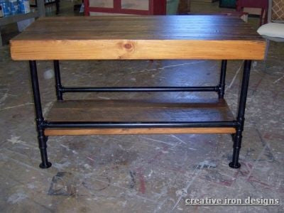 Kitchen Island / work / utility table - Unique Wood & Iron