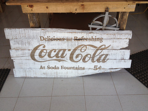 Old gray pine Coke sign with whitewash finish - Unique Wood & Iron
