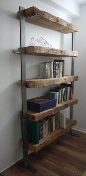Reclaimed Wood Beam & Steel Bookshelf - Unique Wood & Iron