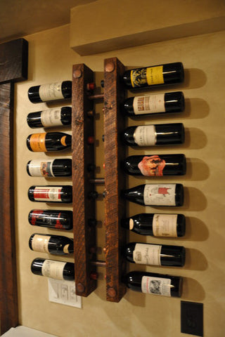 Reclaimed Wood & Pipe Wine Rack - Unique Wood & Iron
