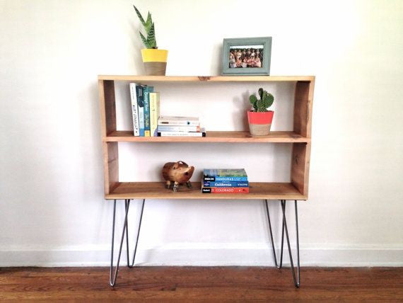 2 shelf open bookshelf -console table - Unique Wood & Iron