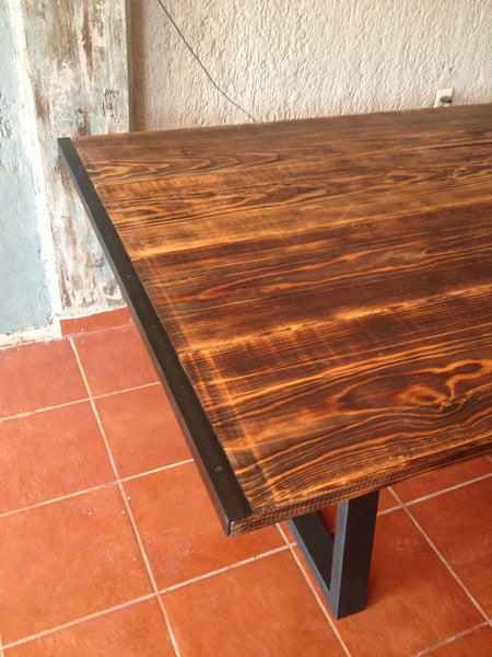 Pine and Iron Edged Dining Table - Unique Wood & Iron
