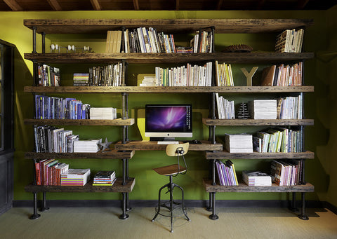 Desk with wood and pipe shelving - Unique Wood & Iron