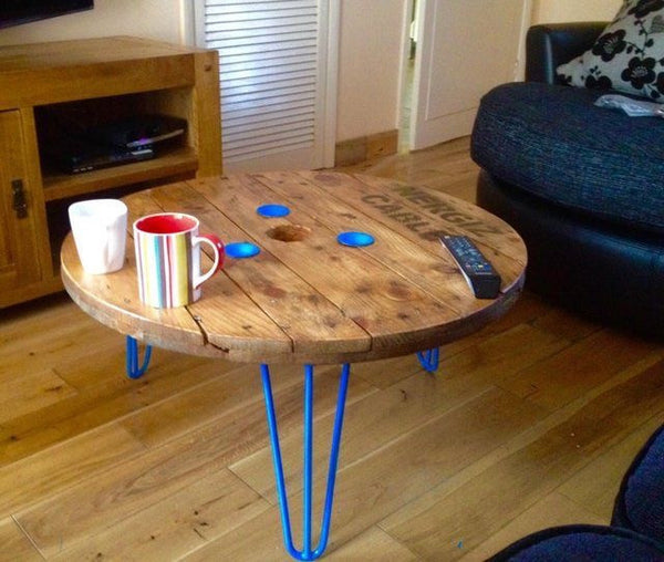 Cable Reel coffee table - Unique Wood & Iron