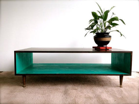 AQUA coloured wood coffee table - Unique Wood & Iron
