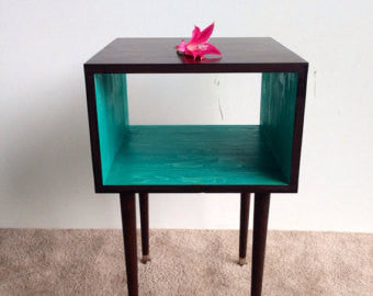 AQUA Nightstand / end table - Unique Wood & Iron