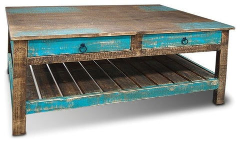 AQUA Coffee Table with drawers #2 / Unique Wood & Iron