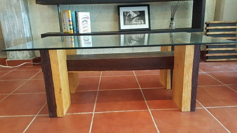 Two color hardwood beam coffee table with glass top - Unique Wood & Iron