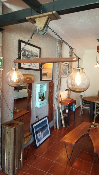 Rustic yoke lamp with hand blown glass globes