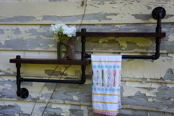 Rustic Industrial Towel Rack - Unique Wood & Iron