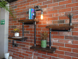 Rustic Industrial Pipe & Wood Wall Shelf
