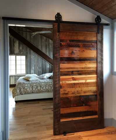 Beautiful Burned Wood Barn Door (Style #1) - Unique Wood & Iron