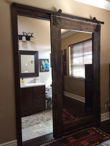 Barn Door with Mirror - Unique Wood & Iron