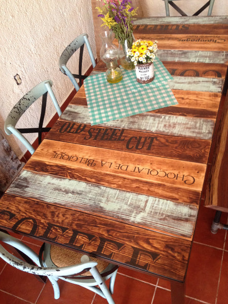 AQUA and burned wood kitchen table with words - Unique Wood & Iron