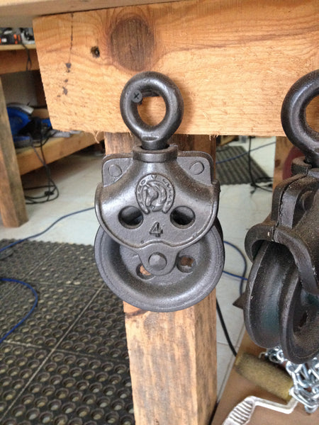 Rustic Industrial Pulley #1 - Unique Wood & Iron