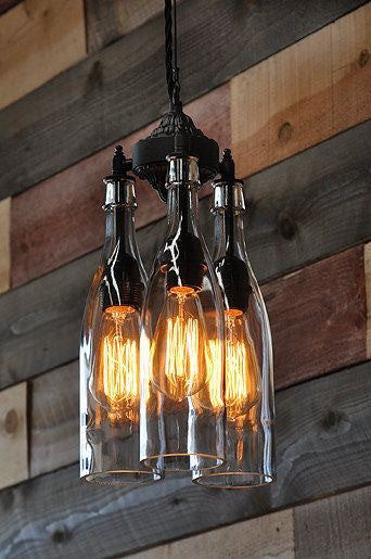 Rustic Industrial pendant lamp with bottles - Unique Wood & Iron