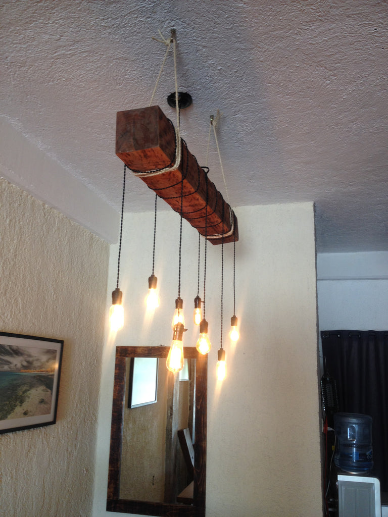 Reclaimed wood beam chandelier with ropes unique wood