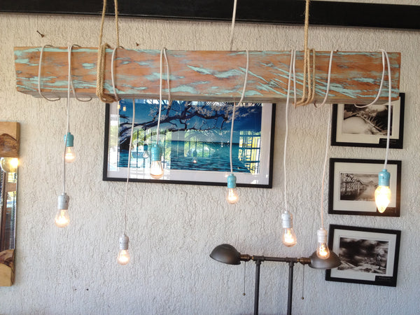 Reclaimed wood beam chandelier, AQUA colored - Unique Wood & Iron