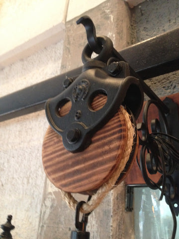Beautiful Rustic Industrial Custom Made Wood & Iron Pulley - Unique Wood & Iron