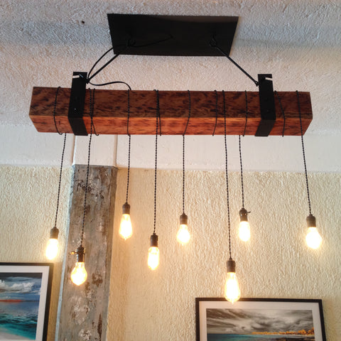 Boston Electric Beam Chandelier - Unique Wood & Iron