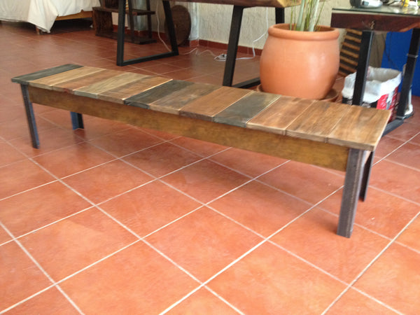 Rustic mixed wood bench