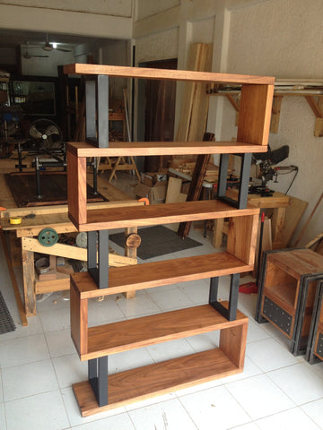 Hardwood and Metal Bookshelf