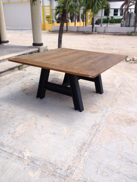 Rustic Industrial Kitchen Table - Unique Wood & Iron