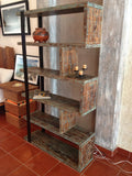 Rustic Industrial Free Standing Bookshelf - Unique Wood & Iron