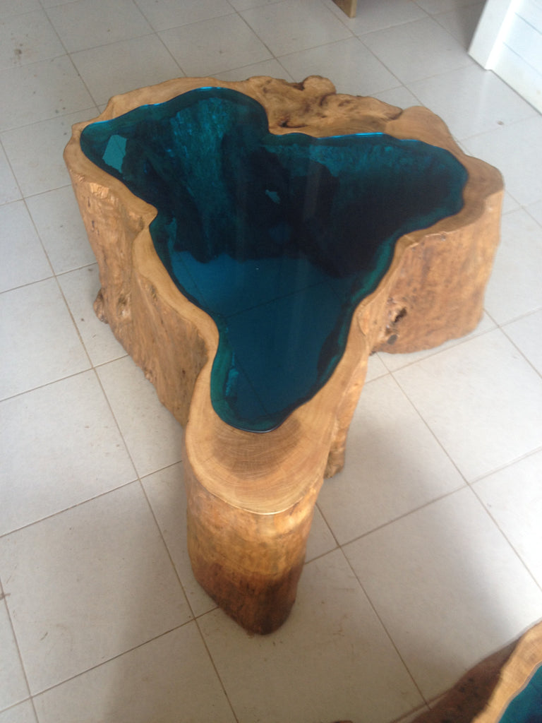 Glass Lake Coffee Table Unique Wood Iron