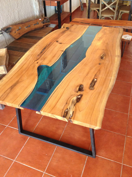 Glass River Dining Table - Unique Wood & Iron