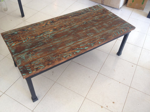 Rustic Industrial Coffee Table with distressed wood - Unique Wood & Iron