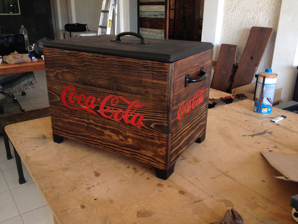 Small Coke Cooler - Unique Wood & Iron