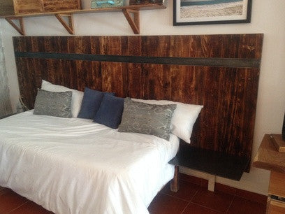 Big Rustic Industrial Headboard with steel night tables - Unique Wood & Iron
